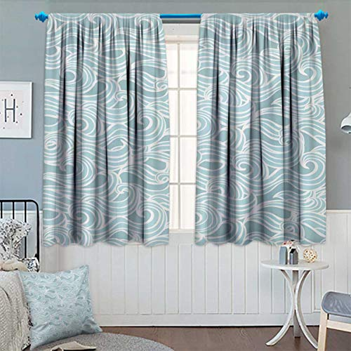 - Anhounine Aqua,Blackout Curtain,Abstract Ikat Frame Antique Victorian Style Floral Leaves Details Art Print,Thermal Insulating Curtain,Seafoam and White,W63 x L72 inch