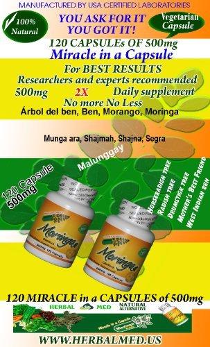 "Moringa - Twin Pack 2 Bottles of 120 Veg Capsules of 450 mg each in one bottle ""100 % Natural"")"