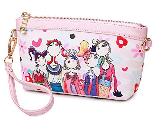 ybmhtw Women'sFashionWristletClutchWalletPattern HandbagCrossbody Purse Bag Pink -