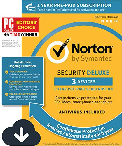 Norton Security Deluxe - Antivirus software for 3 Devices with Auto Renewal, Requires Payment Method - 1 Year Pre-Paid Subscription [PC/Mac/Mobile Download]