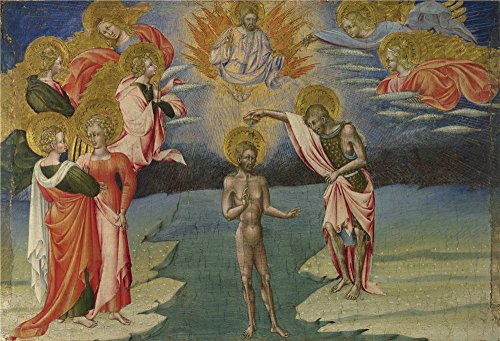 Oil Painting 'Giovanni Di Paolo The Baptism Of Christ Predella Panel ' Printing On Polyster Canvas , 24 X 35 Inch / 61 X 90 Cm ,the Best Gift For ()