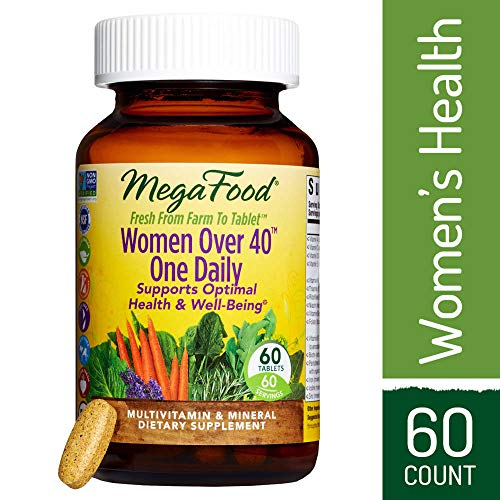 MegaFood - Women Over 40 One Daily, Multivitamin Support for Hair, Skin, Nails, Energy Production, and Hormone Balance with Iron and B Vitamins, Vegetarian, Gluten-Free, Non-GMO, 60 Tablets