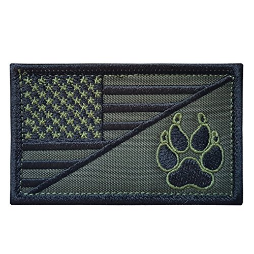 OD Green USA American Flag K-9 Police Dog Handler Morale Tactical Embroidery Sew Iron on Patch