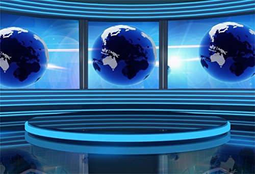 (AOFOTO 8x6ft TV Studio Interior Background Television Room Screen Camcorder Media Photography Backdrop Broadcast Monitor Global News Anchor Interview Photo Shoot Props Newsman Adult Portrait Wallpaper)