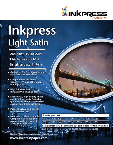 Inkpress ils10100ライトサテン190 – 190 gsm、8ミリ、94 %明るい、片面、10