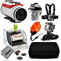 TomTom Bandit 4K Action Camera with Headstrap + Chest Harness Mount + Floaty Strap + Wrist Glove Strap + Premium Case