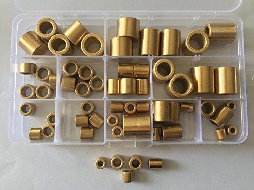 65pcs 4mm-12mm Inner Diameter Brass Sleeves Powder Metallurgy Oil Bearing Copper Sleeve 8mm-20mm Length Assortment - Sleeve Brass