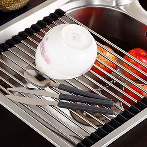 Dish Drying Rack, Bosiwee Roll-Up Stainless Steel