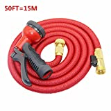 Hulorry Flexible Garden Hose,Expandable Hose 50FT Magic For Car Water Gardening Watering Brass Connector 8-pattern Nozzle for Watering Plants,Showering Pets,Cleaning Patio,Cleaning Car