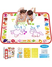 Tecboss Water Doodle Mat, Water Drawing Painting Mat  Mess-Free Aqua Magic Mat with 6 Magic Pens, 6 Stamps, 1 Mould and 1 Drawing Booklet Perfect Educational Toys for Children Over 2 Years