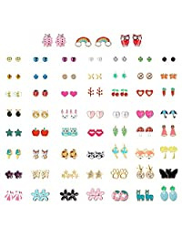 Hanpabum 60 Pairs Cute Stud Earrings for Little Girls, No Color, Size No Size