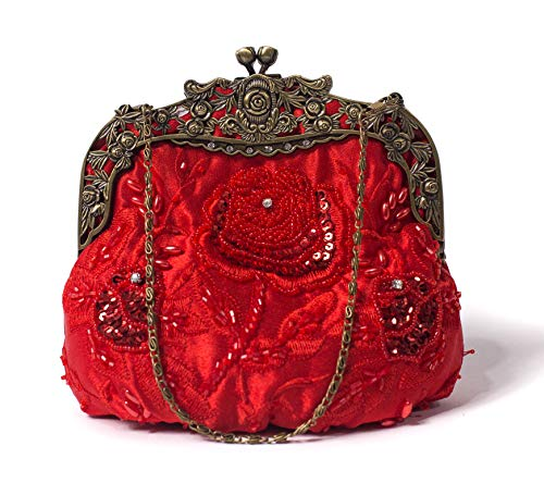 ILISHOP Women's Antique Beaded Party Clutch Vintage Rose Purse Evening Handbag (Red)