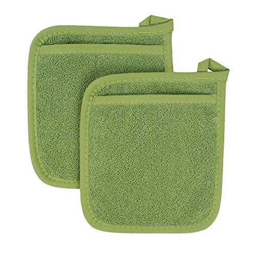 Green Pot Holder - Ritz Royale Collection 100% Cotton Terry Cloth Pocket Mitt Set, Dual-Function Hot Pad/Pot Holder, 2-Piece, Cactus Green