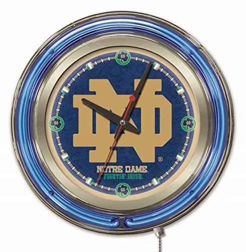 Holland Bar Stool Co. NCAA Notre Dame Fighting Irish Double Neon Ring 15-Inch Diameter Logo Clock