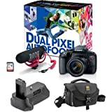 Canon EOS Rebel T7i DSLR Camera with 18-55mm Lens Video Creator Kit plus Vello BG-C15 Battery Grip and Journey 34 DSLR Shoulder Bag (Black)