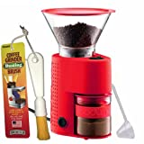 Bodum BISTRO Burr Grinder, Electronic Coffee Grinder with Continuously Adjustable Grind, Brushtech Coffee Grinder Dusting Brush & One-Tablespoon Plastic Clever Scoop Bundle (Red)