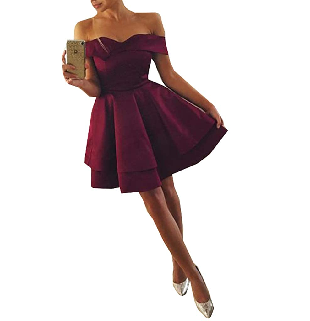 Style4 Wine Red Engerla Bridal Women's Satin Prom Dress Off The Shoulder Beaded Aline Long Homecoming Dress