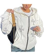 Dames Oversized Hoodies Zip Up Sweatshirt Lange Mouw E-Girls 90S Y2K Print Streetwear Herfst