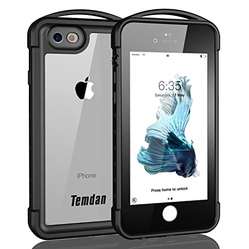 iPhone 6 Plus/6s Plus Waterproof Case, Temdan Supreme Series Waterproof Case with Floating Strap Outdoor Rugged Shockproof Case for iPhone 6 plus/6s Plus-Black (iPhone 6 Plus/ 6s Plus)