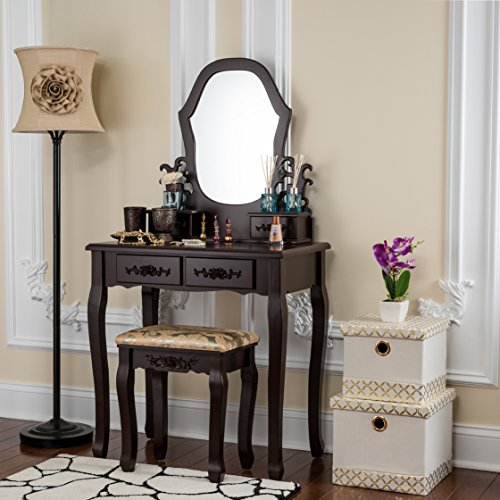 Fineboard Antique Vanity table in Wood Dressing table set with Stool 2 + 2 Organization Drawer and 1 Mirror, Brown (Brown Antique Finish Set)