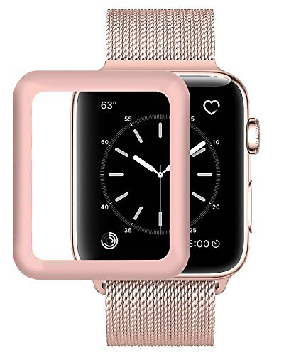 Josi Minea Apple Watch [ 38mm ] 3D Tempered Glass Screen Protector with Edge to Edge Coverage Anti-Scratch Ballistic LCD Cover Guard Premium HD Shield for Apple Watch Series 3 [ 38mm - Rose Gold ] by Josi Minea (Image #2)
