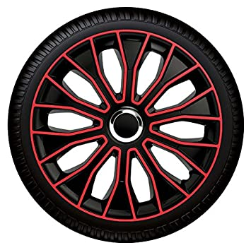 Voltec pro Hubcaps / Wheel Trims 14 inch 15 inch 16 Inch Black / Red: Amazon.co.uk: Car & Motorbike