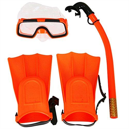 Herbalcandybox Children Kids Swimming Diving Snorkel Breathing Tube Fins Scuba Eyeglasses Set,Orange - Orange Fin