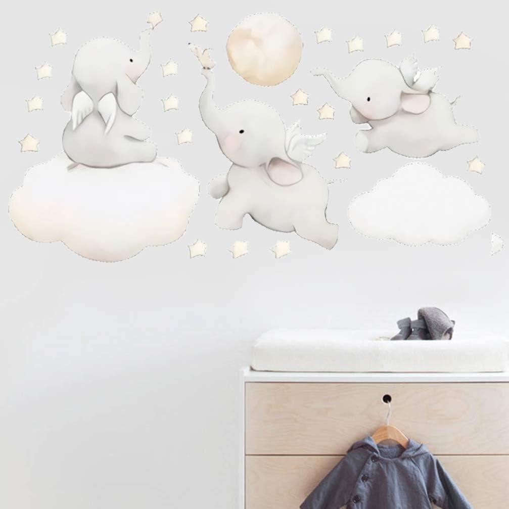 WINOMO /Él/éphant Volant Sticker Mural Animal avec Nuage Lune /Étoile Sticker Mural Dumbo Wall Art D/écor pour Enfants B/éb/é Chambre de B/éb/é Chambre Amovible Maison Fond D/écoration