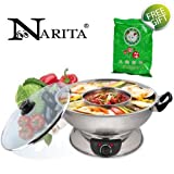 NARITA 4.5Q ELECTRIC STAINLESS STEEL 2 WAY HOT POT (WITH A FREE PACK OF SOUP BASE FROM LITTLE SHEEP)