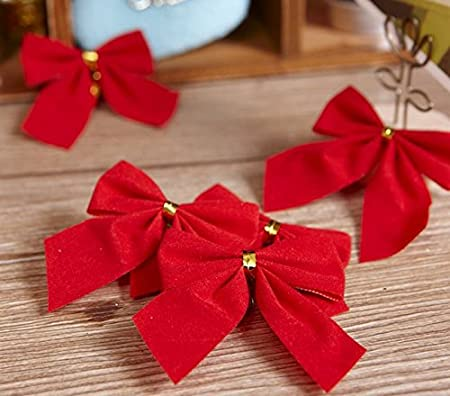 10pcs christmas tree ornaments christmas tree pendant red bow tie a small bow christmas decoration hanging - How To Tie Decorative Bows For Christmas Decor