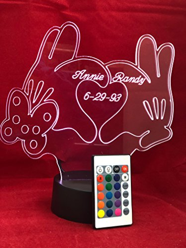Love Hands Shape Design Engraved Beautiful Handmade Acrylic Personalized Love Hands, Heart and Bow Light Up Lamp LED Our Newest Feature - It's WOW, With Remote, 16 Color Options, Dimmer, Free Engraved