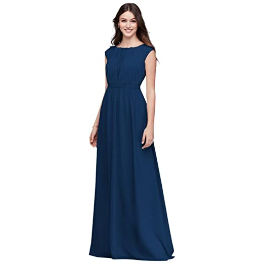 d8d5db4479053 Chiffon Bridesmaid Dress with Chantilly Lace Inset Style F19578 at Amazon  Women's Clothing store: