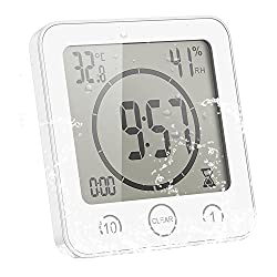 ALLOMN Bathroom Clock, LCD Digital Shower Clock Alarm Waterproof Touch Control ℃/℉ Temperature Humidity, Countdown Timer, 3 Mounting Methods, Battery Power (White)