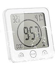ALLOMN Badrumsklocka, LCD digital dusch klocka larm vattentät touch-kontroll ℃/℉ temperaturfuktighet, räkningstimer, 3 monteringsmetoder, batteriström (vit)