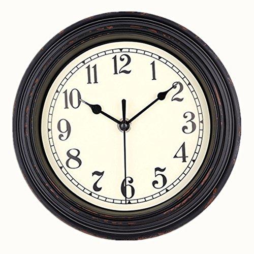VIRGIN FOREST 12-Inch Round Classic Clock Retro Non Ticking Quartz Decorative Wall Clock (White)