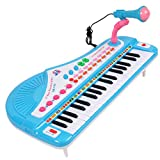 Keyboard Piano, YIFAN 37-Key Multi-function Electronic Organ Keyboard Piano with Microphone Kids Children Educational Toy – Blue