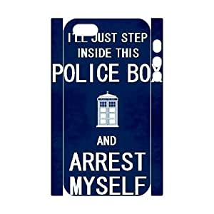 3D Doctor Who Series, For SamSung Galaxy S4 Mini Phone Case Cover Doctor Who Quotes Police Box Arrest Myself For SamSung Galaxy S4 Mini Phone Case Cover [White]