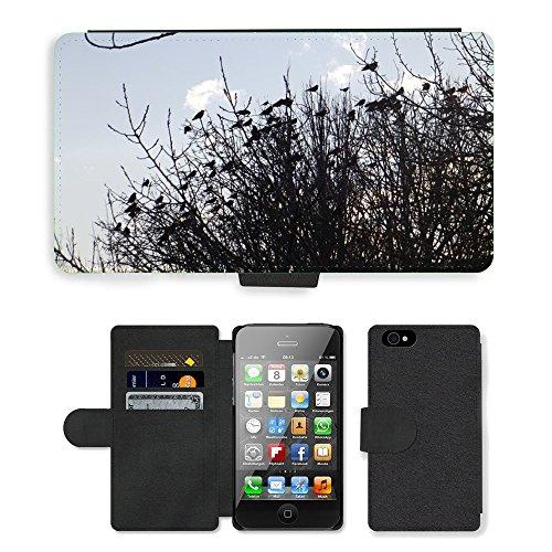 Just Phone Cases PU Leather Flip Custodia Protettiva Case Cover per // M00128859 Direction Oiseaux Nature // Apple iPhone 4 4S 4G