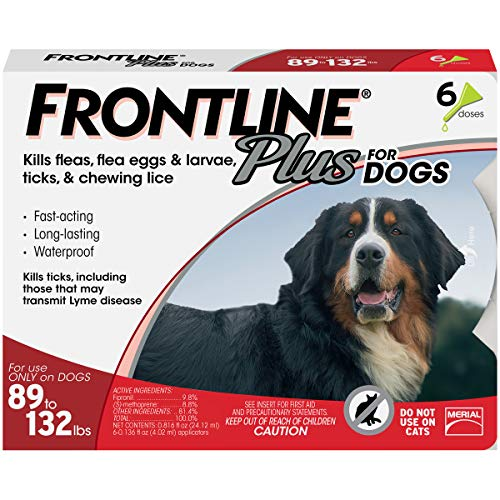Frontline Plus for Dogs Extra Large Dog (89 to 132 pounds) Flea and Tick Treatment, 6 Doses - Frontline Plus Dog Flea Control