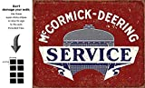 Shop72 - Farmall McCormick Deering Service Tin Sign Retro Vintage Distrssed - With Sticky Stripes No Damage to Walls