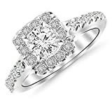 14K White Gold 1.76 CTW Round Cut Square Halo Diamond Engagement Ring, J Color VS1-VS2 Clarity Center Stone