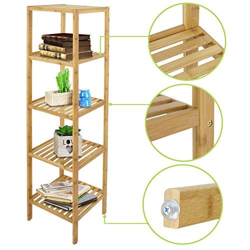 Smartxchoices 5 tier 100% Bamboo Tower Free Standing Shelf Units Wood Storage Standing Rack Livingroom Corner Bookshelf Organizer Floor Cabinet Display Rack ( 57.5'' H)