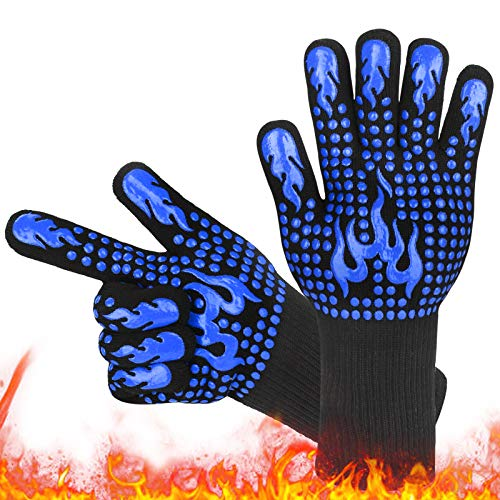 Grillhandschuhe,Hitzebeständig Grillhandschuh 800 Grad Ofenhandschuhe Feuerfeste Langarm BBQ Handschuhe Backhandschuhe…