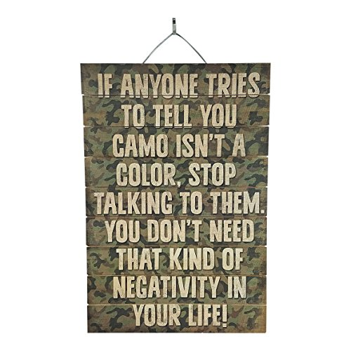 "Camo Slogan Reclaimed Wood Sign, 12"" x 18"" Rustic Home Decor Plaque with Hanger bundle sold by Imprints Plus, made by Highland Woodcrafters 45-01608 (Decor Home Camouflage)"