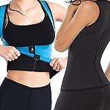 Womens Sports Breathable Rubber Shoulder Slimming Loss weight Vest Underbust Corset,Rapid Sweat Body Shaper Reversible Wear Latex Waist Trainer Cincher Girdle with Zipper (Medium)