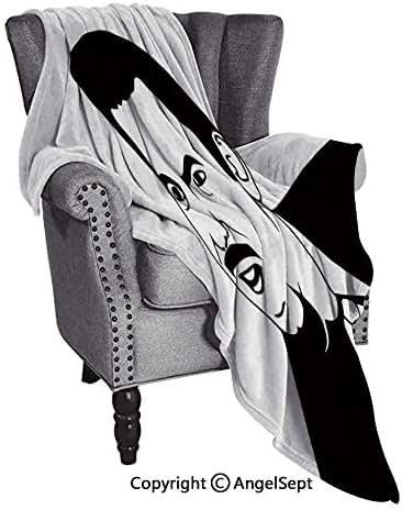 AngelSept Useful Everyday Throw Blankets,Retro Man Stylized Rage Comics Smiley Expressive Emotions Online Illustration Black White,51