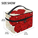 U LIFE Valentines Day Birthday Heart Love You Floral Roses Wedding Travel Cosmetic Makeup Toiletry Storage Bags Boxes Cases Organizers