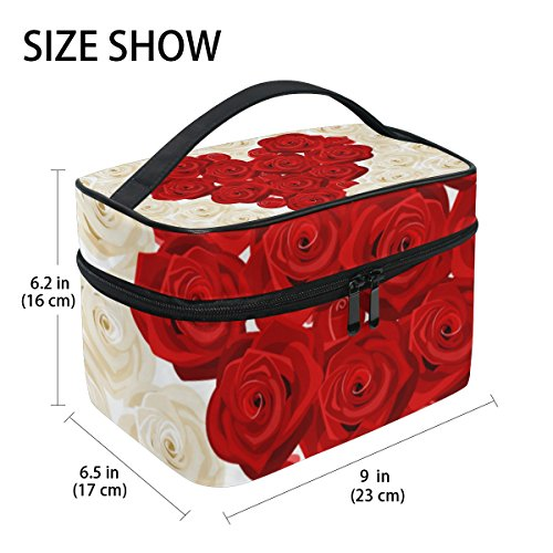 U LIFE Valentines Day Birthday Heart Love You Floral Roses Wedding Travel Cosmetic Makeup Toiletry Storage Bags Boxes Cases Organizers by ALAZA