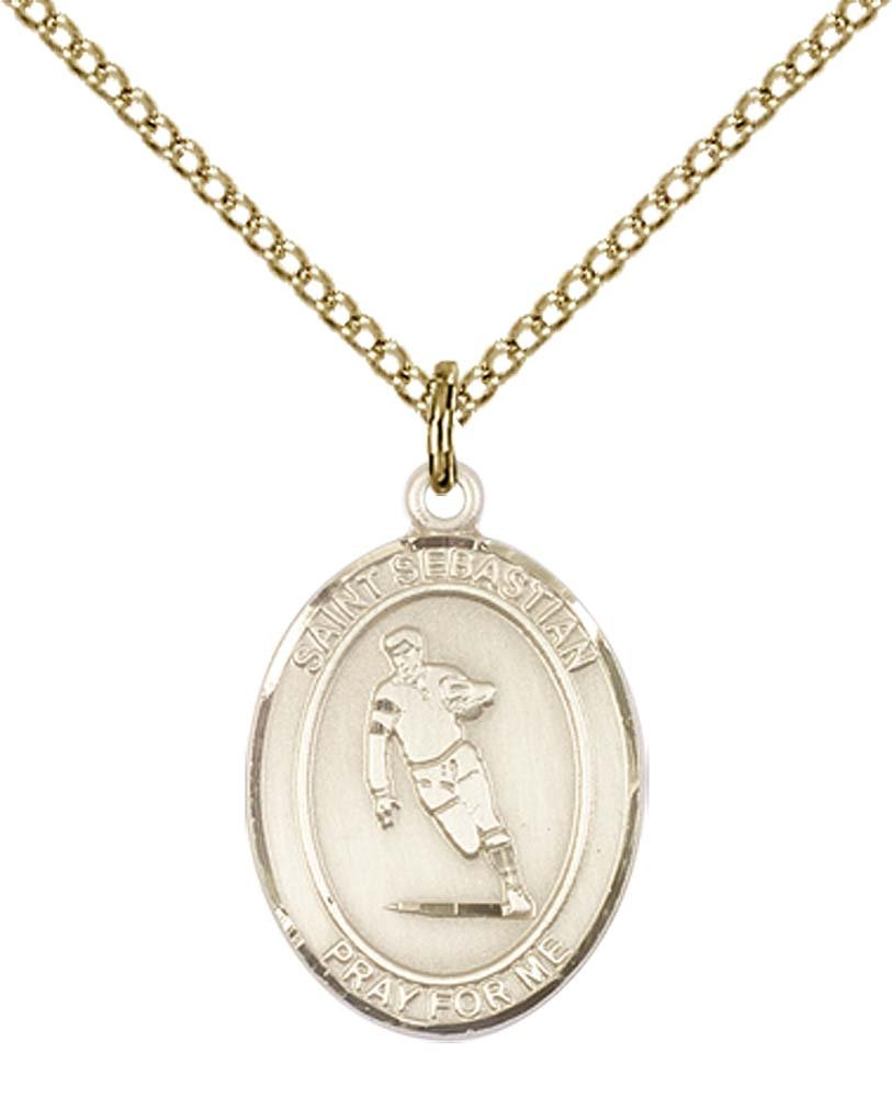 14kt Gold Filled St. Sebastian / Rugby Pendant with 18'' Gold Filled Lite Curb Chain. Patron Saint of Athletes/Soldiers