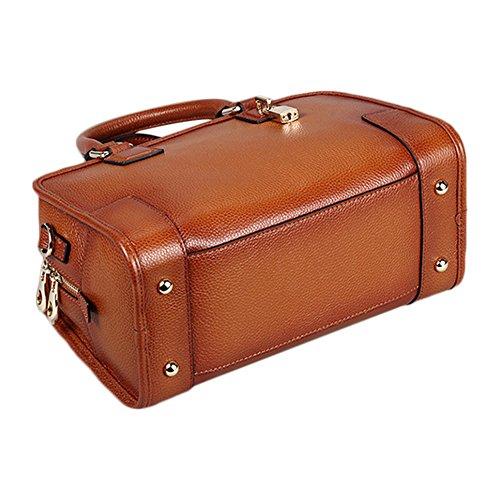 Myleas 2W-ST5691 Damen Retro Echtes Leder Henkeltasche Handtasche Schultertasche Shopper mit Schultergurt Groß
